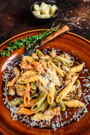 Seafood color Penne pasta in cream sauce on a plate. Dark background. Top view 免版税图像