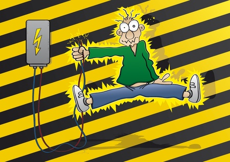 cartoon accident: Cartoon man gets an electric shock