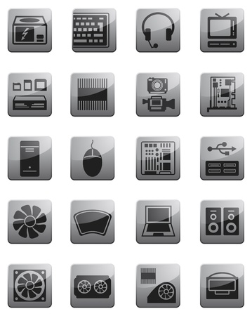 Icons for computing equipment - Hardware Stock Vector - 17222254