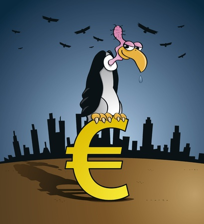 Bankruptcy vulture sitting on an Euro currency sign - European currency crisis concept  Stock Vector - 17222237
