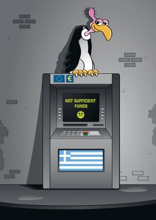 faillite: La faillite grecque - un vautour faillite est assis sur un guichet automatique avec le drapeau grec