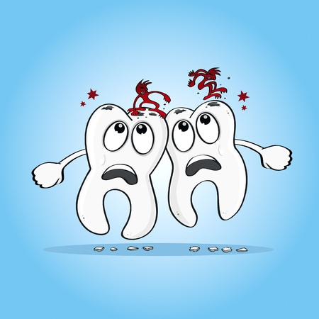 Two sad Cartoon human teeth with caries on their heads