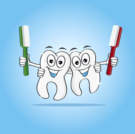 Two Smiling Cartoon human teeth holding toothbrushes Illustration