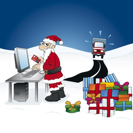 ordering: Smart Santa Claus - ordering gifts on the internet Illustration