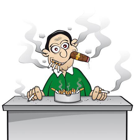 흡연자: 체인 흡연자 - 니코틴에 중독 일러스트