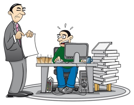 felügyelő: Illusztráció egy túlhajszolt munkavállaló és felügyelő, aki mutatott egy dokumentumot.