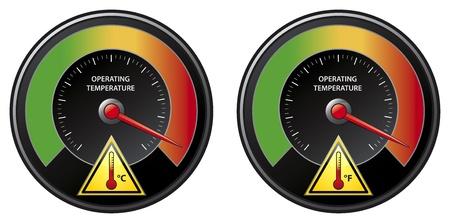 Overheat warning, illustration Illustration