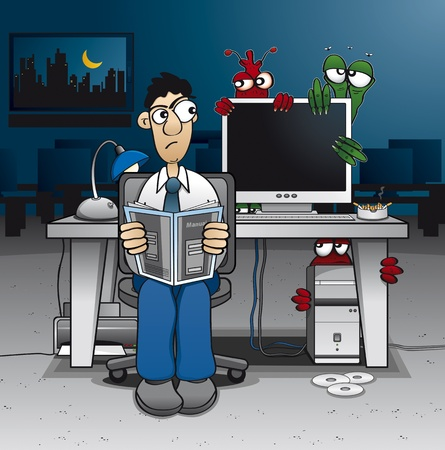 Computer administrator having trouble with some ugly viruses Illustration