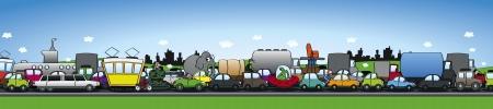 Seus traffic jam - wide horizontal format Stock Vector - 17222257