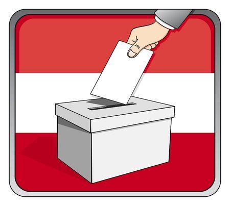 Austrian elections - ballot box and national flag