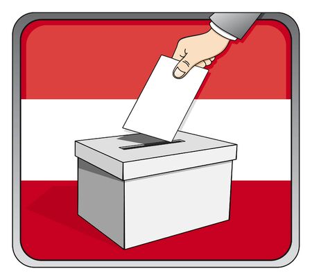 Austrian elections - ballot box and national flag