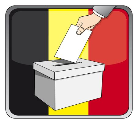 Belgian elections - ballot box and national flag