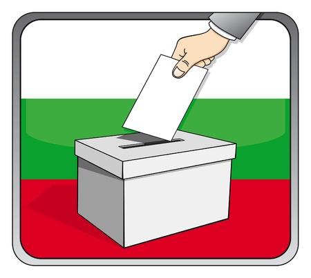 Bulgarian elections - ballot box and national flag