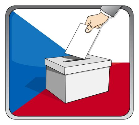 Czech elections - ballot box and national flag