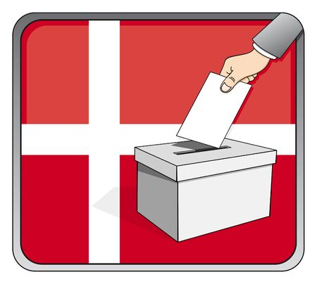 Danish elections - ballot box and national flag