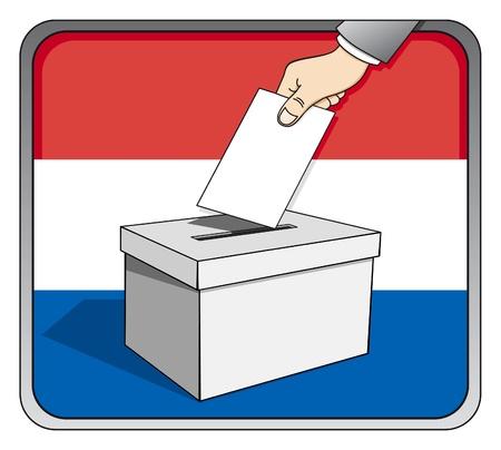 Dutch elections - ballot box and national flag