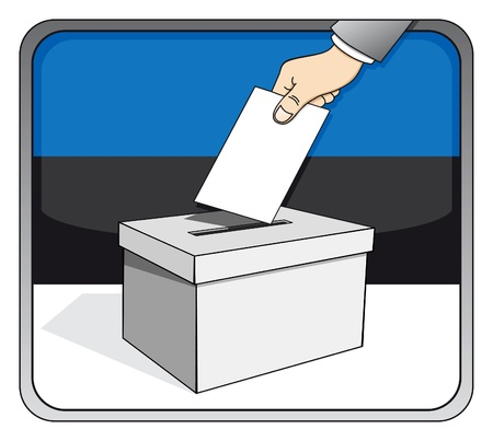 Estonian elections - ballot box and national flag