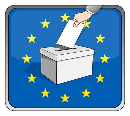 European elections - ballot box and national flag Vector