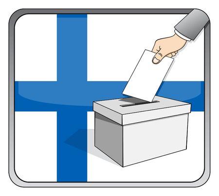 Finnish elections - ballot box and national flag Illustration