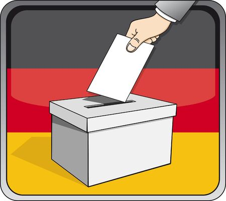 German elections - ballot box and national flag