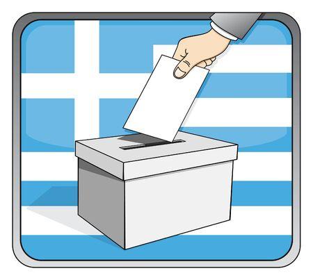 Greek elections - ballot box and national flag Illustration