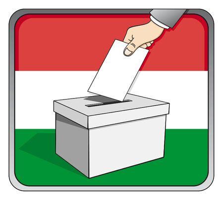 Hungarian elections - ballot box and national flag