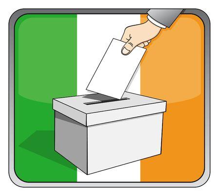 Irish elections - ballot box and national flag Illustration