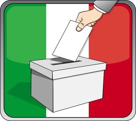 Italian elections - ballot box and national flag 일러스트