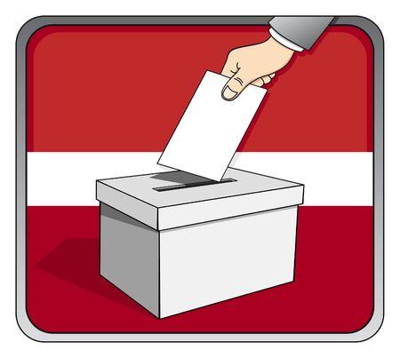 Latvian elections - ballot box and national flag Illustration