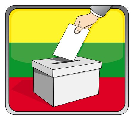 Lithuanian elections - ballot box and national flag