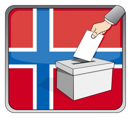 Norwegian elections - ballot box and national flag