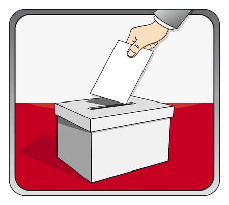 Poolse verkiezingen - stembus en de nationale vlag Stock Illustratie