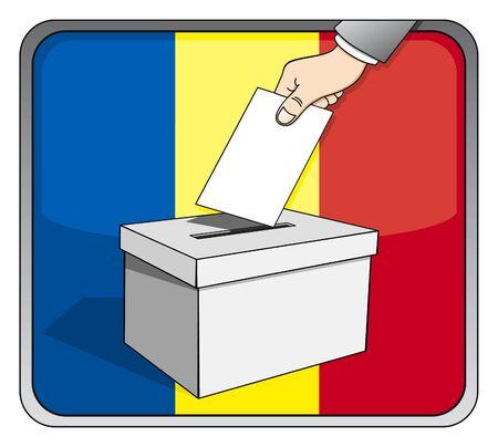 Romanian elections - ballot box and national flag Illustration