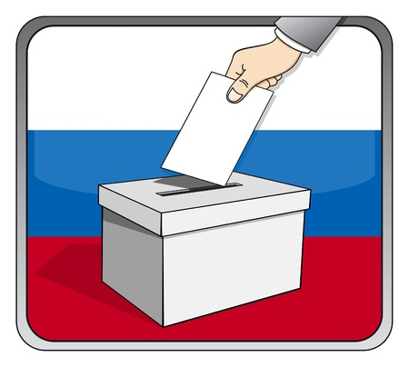 Russian elections - ballot box and national flag