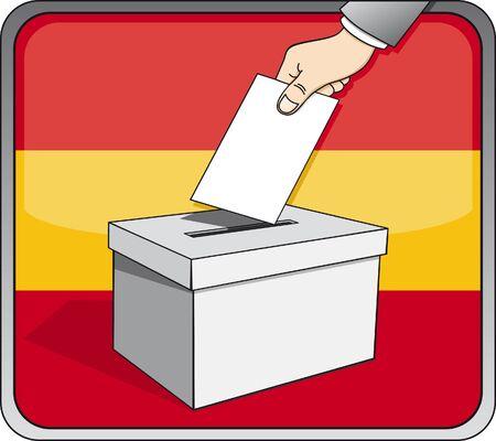 Spanish elections - ballot box and national flag