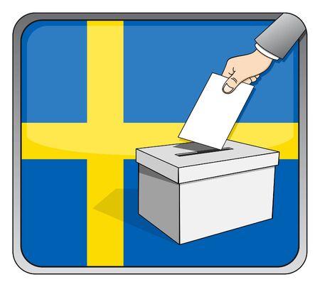 Swedish elections - ballot box and national flag