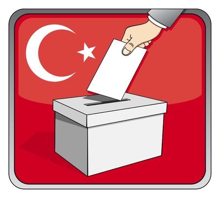 Turkish elections - ballot box and national flag Illustration