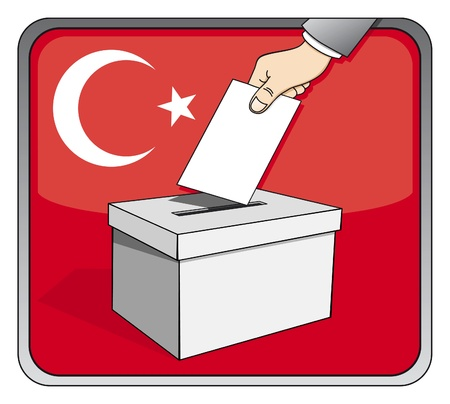 Turkish elections - ballot box and national flag Illustration