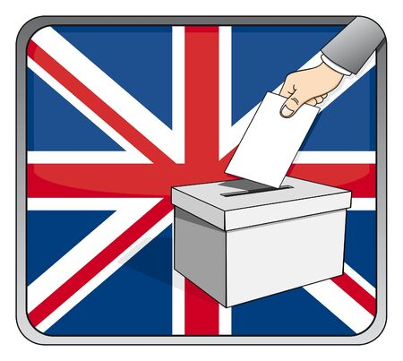 British elections - ballot box and national flag