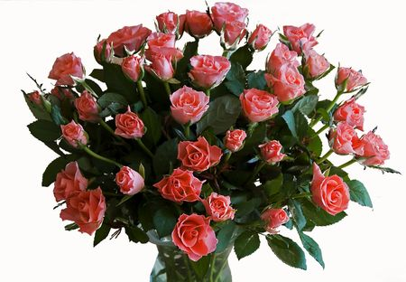 bouqet of red roses as a present for love photo
