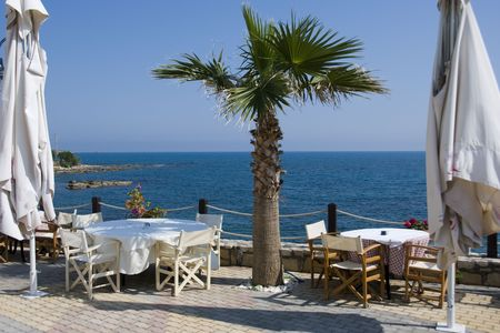 a place for dinner with a view on the sea in greece on the island crete photo