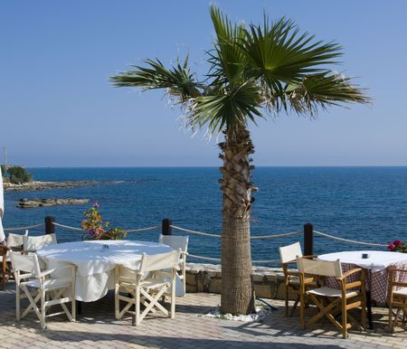 timeshare: a place for dinner with a view on the sea in greece on the island crete