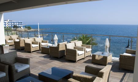 a place for dinner with a view on the sea in greece on the island crete