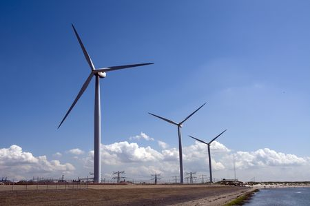 windmills in holland for green energy photo