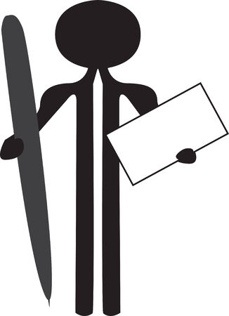 man with pen and information board Stock Vector - 5224903