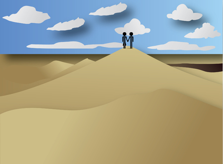 couple in love travel africa Vector