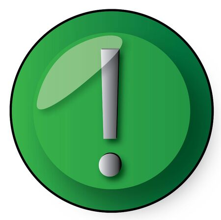 deduce: exclamation button in green and silver gradient  Stock Photo