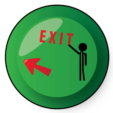 exit out left button green Stock Photo - 6382632