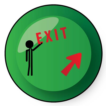exit out button green Stock Photo - 6382453