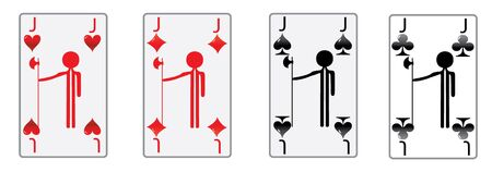 the four jacks of the poker game in luxury white cards  photo